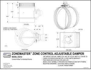 "ZoneMaster™ Motorized Damper - 12"" Normally Open - ZO112"