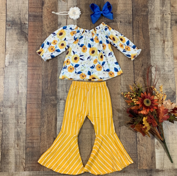 Yellow Floral and Stripes Bell Bottoms