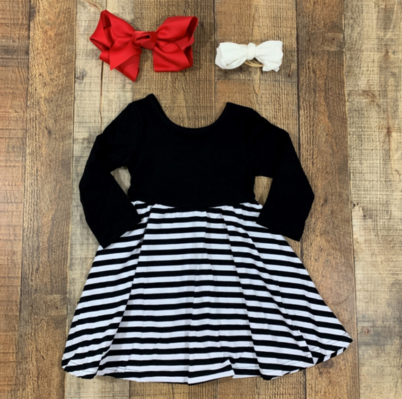 Black Striped Twirl Dress