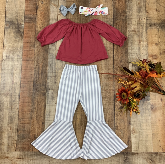 Burgundy and Stripes Bell Bottoms