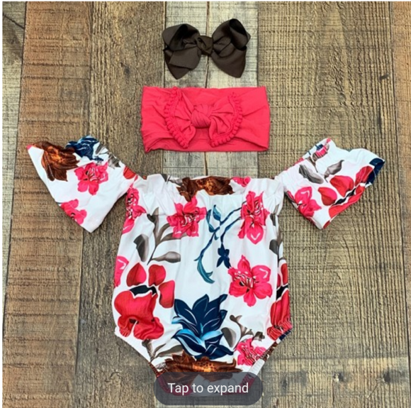 Tropical Floral Off The Shoulder Romper