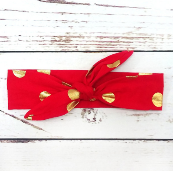 Red With Gold Dots Knot Headband