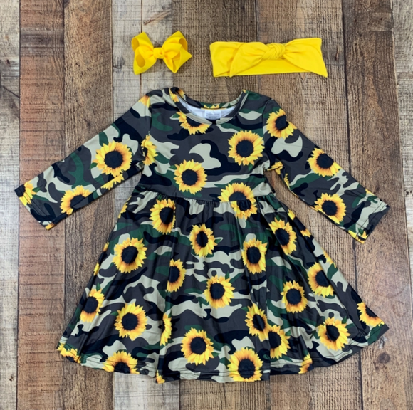Sunflower Camo Twirl Dress
