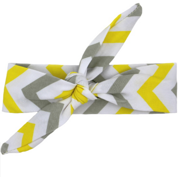 Yellow, White, And Grey Chevron Knot Headband