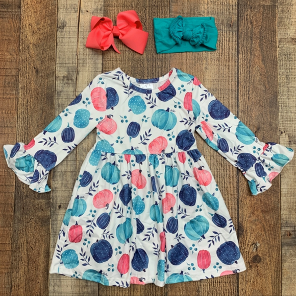 Blue & Pink Pumpkin Tunic Dress