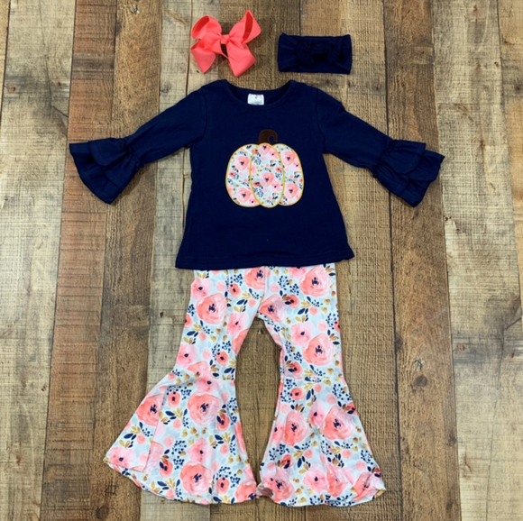 Coral Rose & Navy Pumkin Bell Bottoms