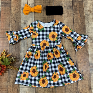 Sunflower Black and Plaid Tunic Dress