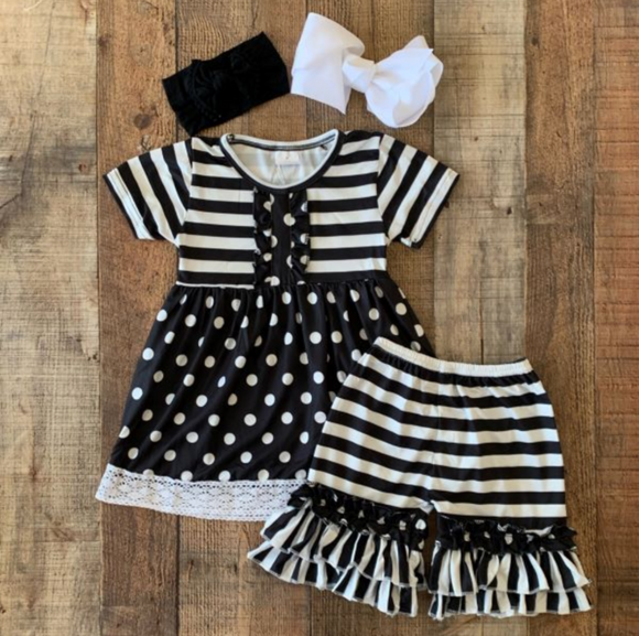 Black and White Stripes and Dots Shorts Outfit-Hurry only a couple left