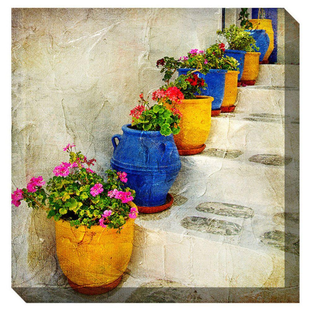 Outdoor Canvas Wall Art.West Of The Wind Outdoor Canvas Wall Art Bright Pots