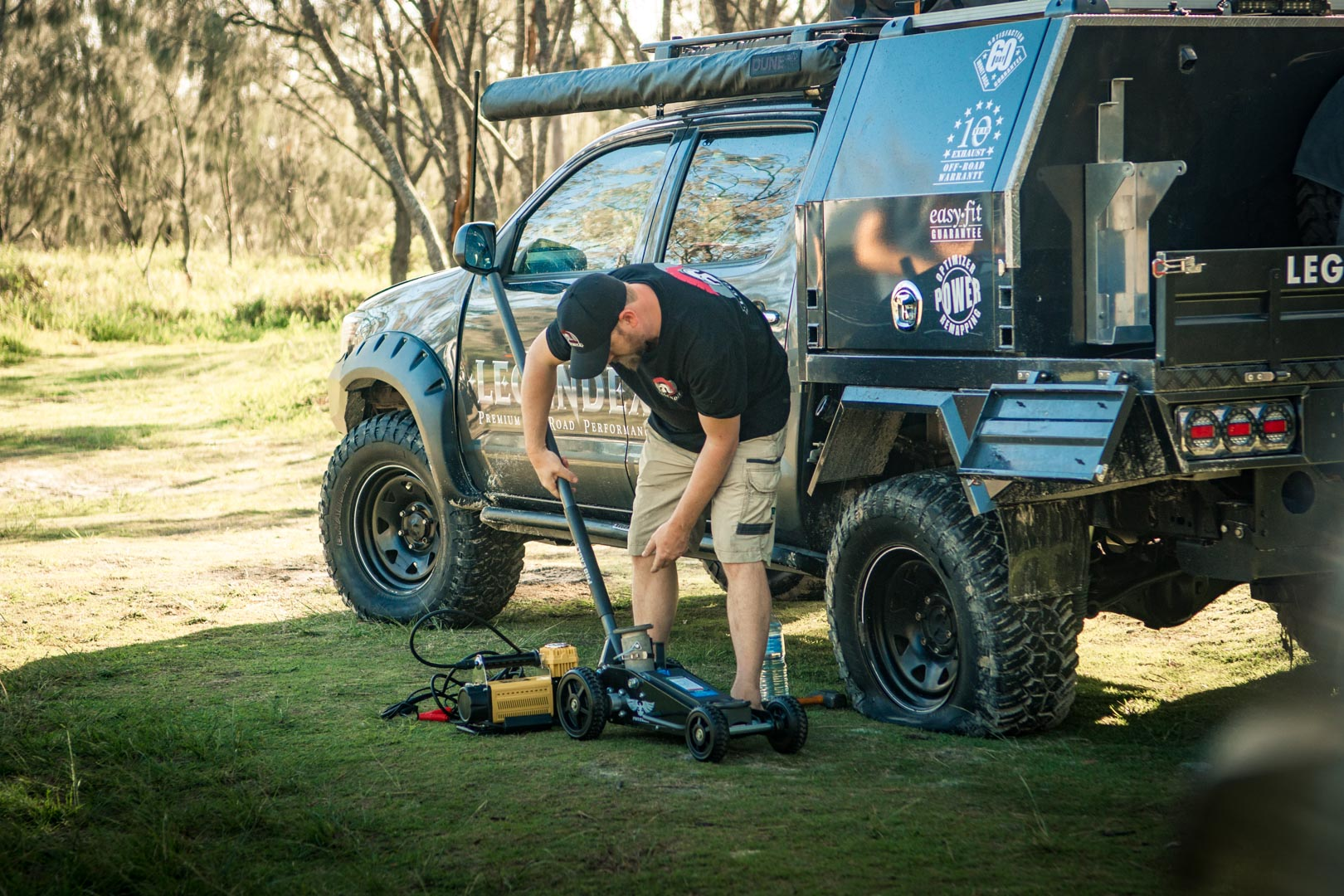 Barney Lewis from Legendex using our 2 ton Pro Eagle Off-Road Trolley Jack