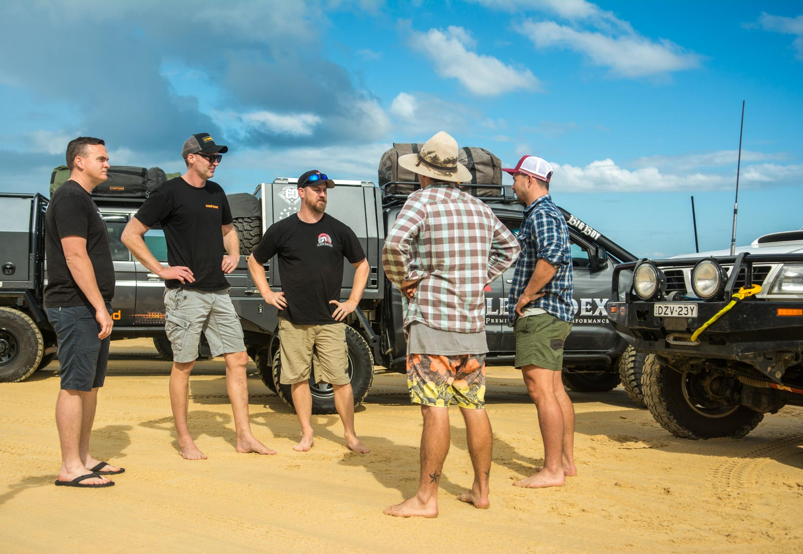 Barney Lewis from Legendex and his mates at Moreton Island