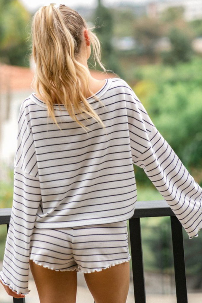 Striped Long Sleeve Top Shorts Flare