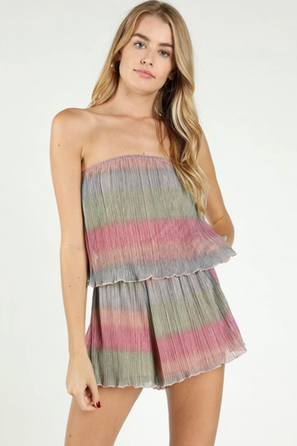 Party Girl Strapless Shimmer Romper