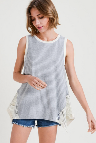 Natural Stripe Sleeveless Top