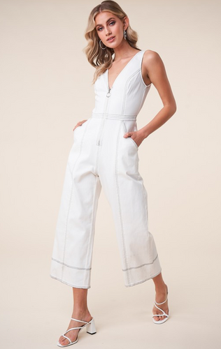 Far Out White Denim Zip Front Jumpsuit