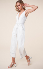 Load image into Gallery viewer, Far Out White Denim Zip Front Jumpsuit
