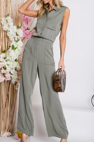 Olive Girl Sleeveless Jumpsuit