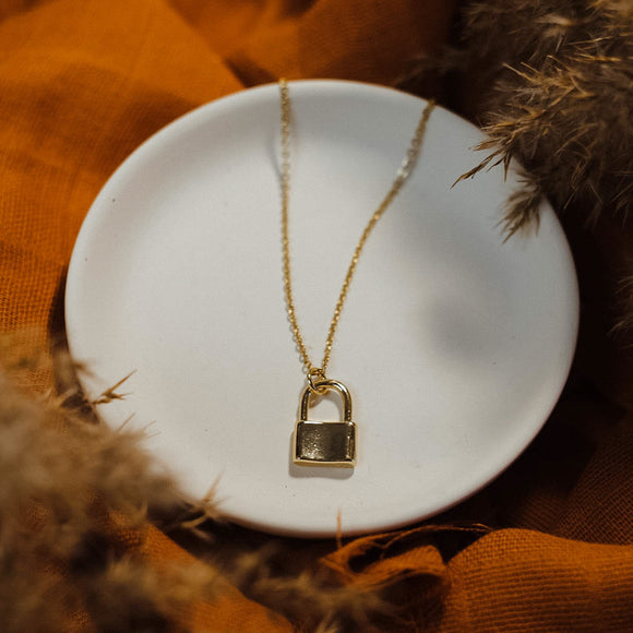 Gold Lock Necklace