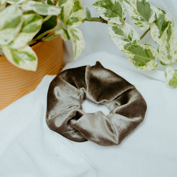 Gray Velvet Scrunchie