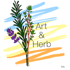 Logo for Art and Herb featuring a variety of herb plants and color.