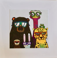 Picture of Animals with sunglasses from the print by KTO of Hawaii.