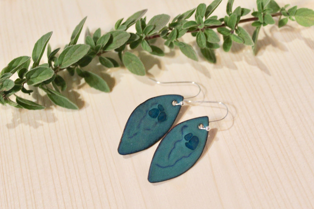 Enamel Earrings- Green With Flower