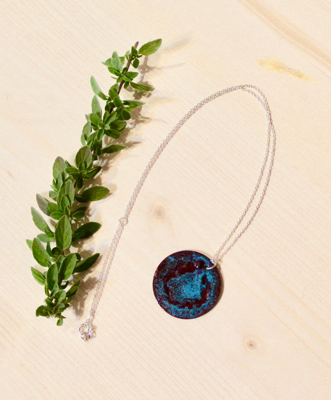 Enamel Necklace on Sterling Silver