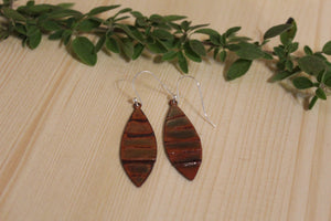 Enamel Earrings- Brown