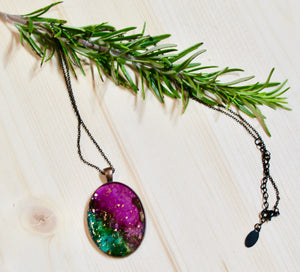 Resin Necklace on Stainless Steel