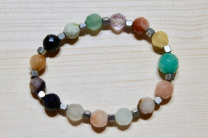 Stone Bracelet- Mixed Beads with Silver
