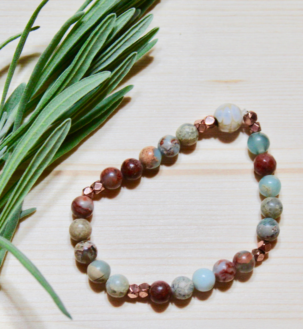 Stone Bracelet- Aqua Terra and Fire Agate with Copper Beads