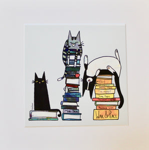 Book Lover Cats- Unframed Print