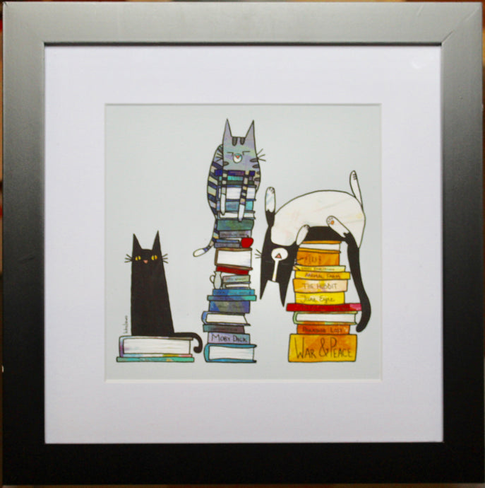 Book Lover Cats- Framed Print