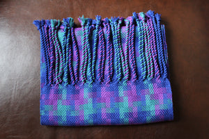 Hand-Woven Purple/Green blend of bamboo fibers for a scarf that is approximately 6 feet long and 10 inches wide.