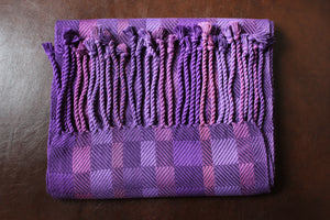 Hand-Woven Purple blend of bamboo fibers for a scarf that is approximately 6 feet long and 10 inches wide.