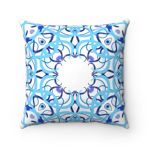 Evil Eye Blue Tile Spun Polyester Square Pillow