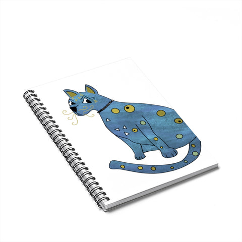 Blue Groovy Kitty Spiral Notebook