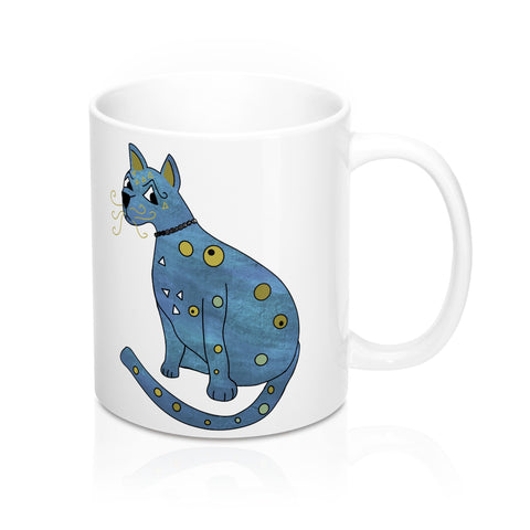 Groovy Blue and Orange Kitty Mug