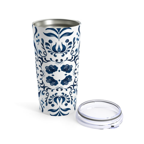Blue and White Tile Inspired Tumbler 20oz