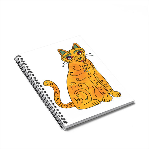 Orange Groovy Kitty Spiral Notebook
