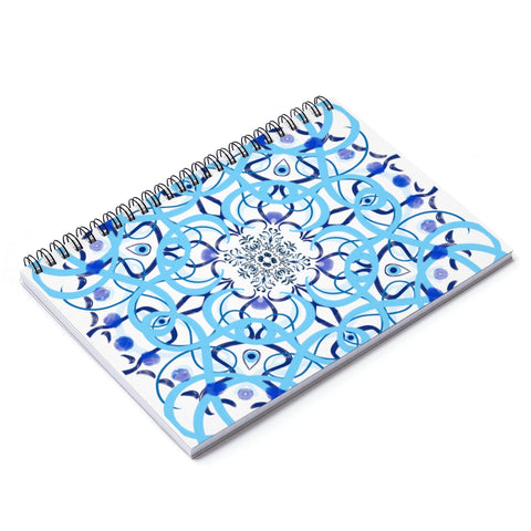 Evil Eye Blue Tile Spiral Notebook.