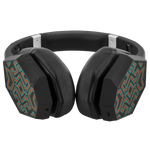 Aztek Print Wireless Headphones with Omnidirectional Bass, Microphone and 85% Noise Cancellation