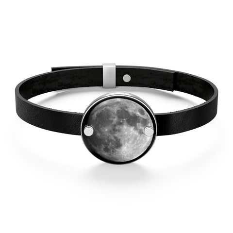 Full Moon Minimalist Sterling Silver and Natural Leather Bracelet