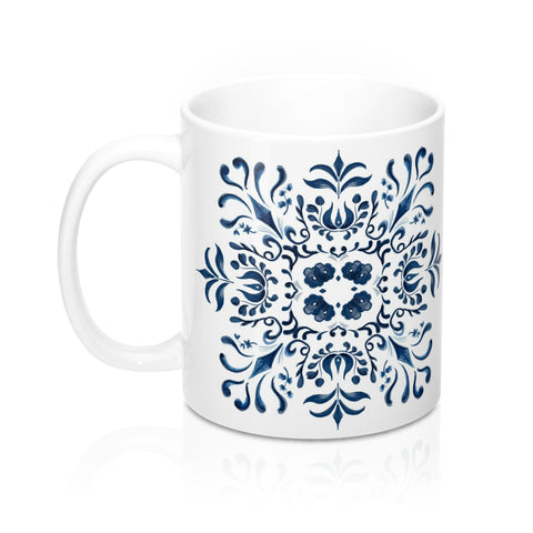 Blue and White Tile Inspired Pattern Mug 11oz
