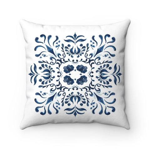 Blue and White Tile Inspired Accent Pillow