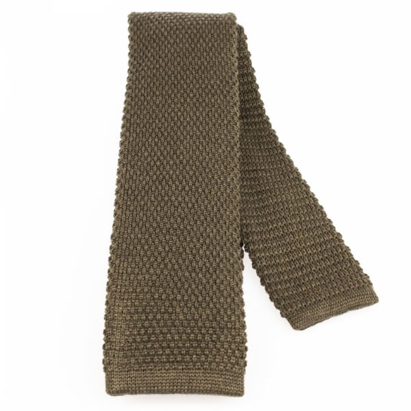 Olive Knitted Wool Tie |  Blick