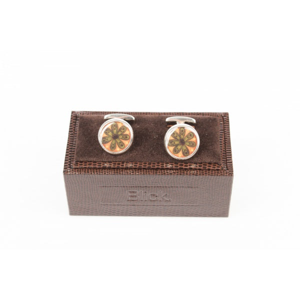 Orange Silver Cufflinks | Blick