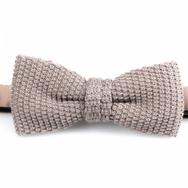Taupe Knitted Wool Bowtie | Blick