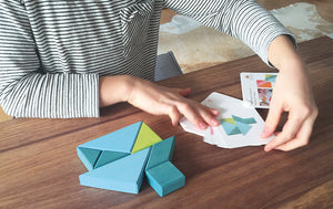 GRIMM'S Creative Set Tangram Incl. Templates, Blue-Green