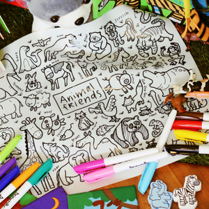 DRAWNBY: Animal Friends Colouring Mat with Markers